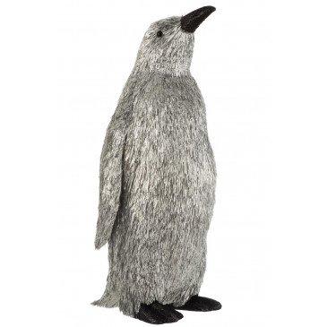 Pingouin Décoratif Pailleté Plastique Argent Large