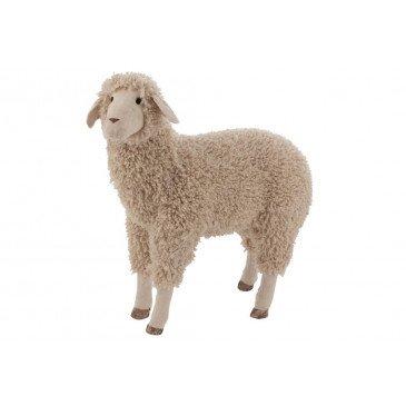 Mouton Décoratif Textile Laine Beige Large