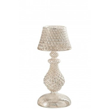 Photophore Lampe Verre Argent Small