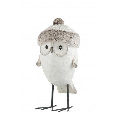 Figurine Décorative de Noël Hibou Magnésie Blanc et Gris Large