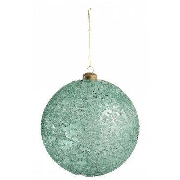 Boule de Noël Verre Transparent Antique Azur Extra Large