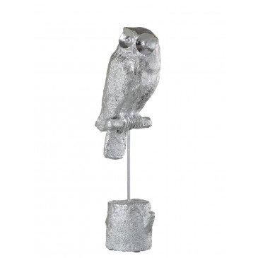 Figurine Décorative de Noël Hibou Sur Pied Résine Argent Large