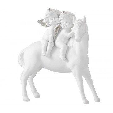 Cheval et Anges Résine Blanc et Argent Large