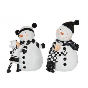 Bonhomme de Neige et Enfant Résine Noir et Blanc Assortiment de 2