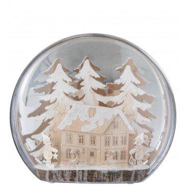 Boule Hiver Arbre et Maison Led Acrylique Blanc