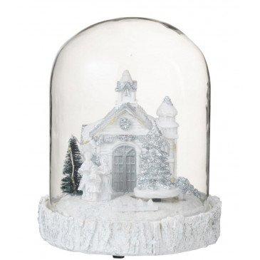 Cloche Église Hiver Led Résine Blanc
