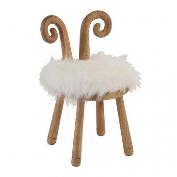 Chaise Oreilles de Mouton Bois Naturel