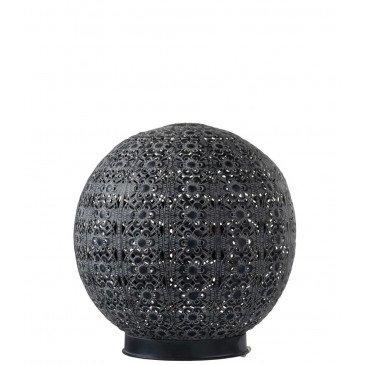 Lampe Led Boule Orientale Pile Métal Noir Large