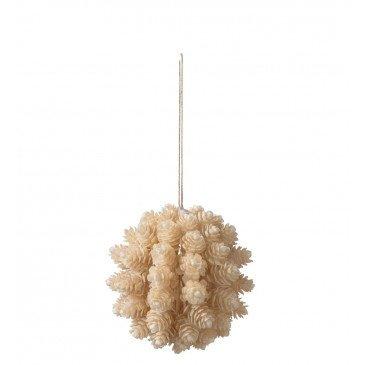 Boule Suspendue Pomme de Pin Plastique Beige Large