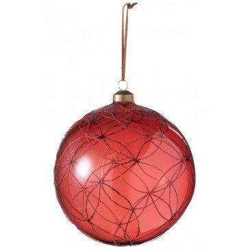 Boule de Noël Cercle Pailleté Verre Rouge Extra Large