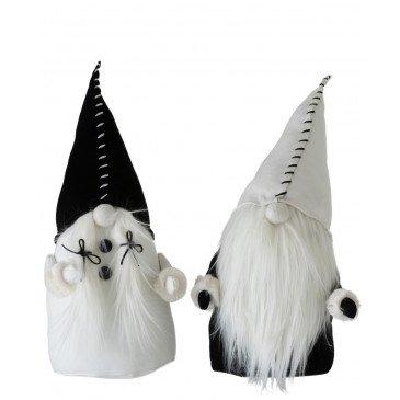 Set de 2 Pères Noël  Textile Noir et Blanc Large