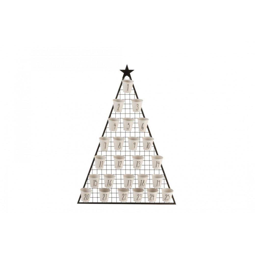 Calendrier Noël Decembre Arbre Métal Noir et Blanc