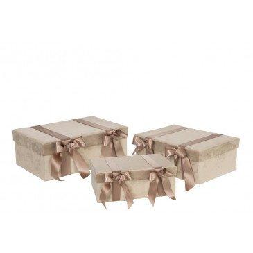 Set de 3 Boîtes Velours et Satin Beige