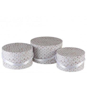 Set de 3 Boîtes Tricotées Papier Blanc et Beige